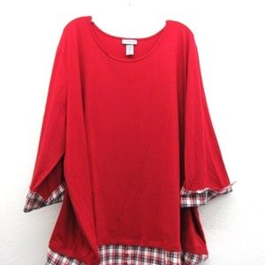 Red on Plaid Plus Size Fashion Top